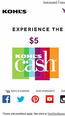 4X $5 Off Kohls Cash Rewards - Expires 12/31/2018 ( $20 Value )