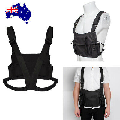 Radio Harness Chest Vest Tactical Rig Ammo Holster for Two Way Walkie Talkie