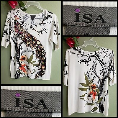 Isa woman casual formal career knit sequins blouse size XL