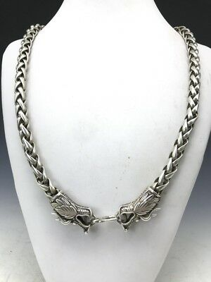 Collection of ancient Chinese rare hand-carved Tibetan silver necklace