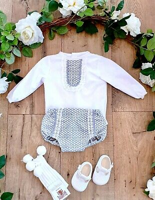Baby Boys Spanish Romany Grey Jam Pants And White Shirt With Frill