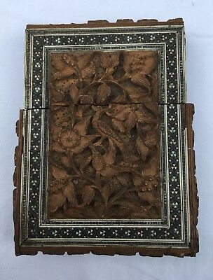 Wood Carving Colonial India Calling Card Case Antique
