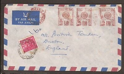 "India 1972 Meter post airmail cover. ""Madras"" cancellation"