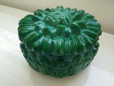Vintage Art Deco green glass dressing box dish Malachite glass trinket box Fine