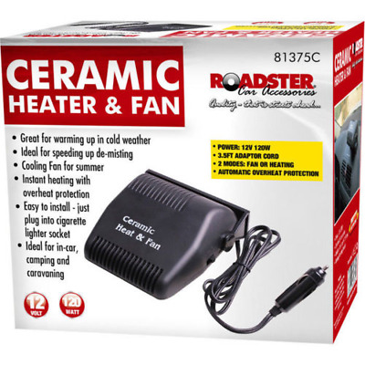 12V 120W CAR 3 in 1 HEATER  FAN & DEMISTER CERAMIC DEFROSTER DURABLE ABS 81375c
