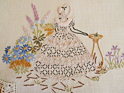CRINOLINE LADY & SUNDIAL Large Doily Table Centre  Vintage Hand Embroidered