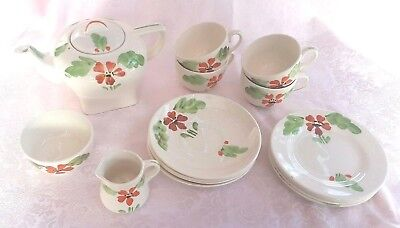Vintage, Art Deco, Hancock's, Ivory Ware, Child's Tea Set, Hand Painted