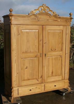 19th CENTURY LARGE ANTIQUE GERMAN SOLID PINE ARMOIRE  WARDROBE