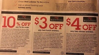 20x Save RED LOBSTER  $4.00 & $3.00 OFF Seafood Restaurant  Exp 1/26/2019