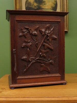 Antique Carved Oak Arts & Crafts Cabinet, Smokers Cabinet, Bathroom Cabinet