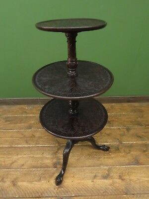 Antique Oak Dumb Waiter, Drinks Stand Carved Oak Tiered Stand