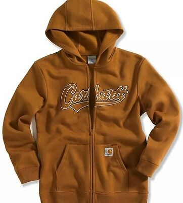 Boys Carhartt Logo Zip Front Hoodie Size Small 8-10