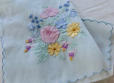 Vintage Madeira Linen Hand-Embroidered Needlework Holder / Envelope