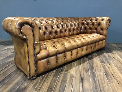 As Featured On ITV - Fully Restored MidC Hand Dyed Leather Chesterfield Sofa