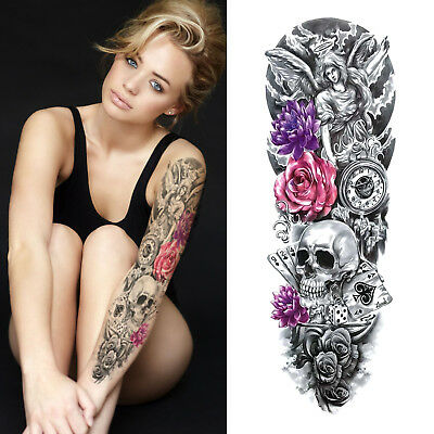 Temporary Tattoo Sleeve - Roses Skull Flowers Clock 3D Waterproof Womens Mens