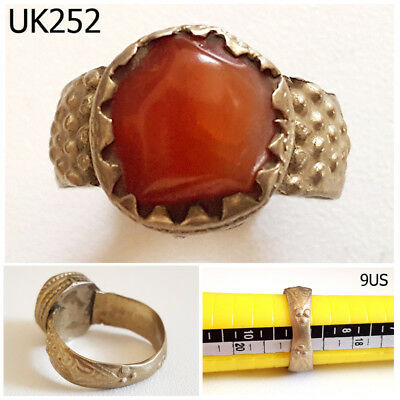 Vintage Greek Roman Style Carnelian REAL Silver Ring Size 9US #UK252a