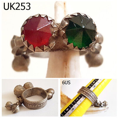 Old Kuchi Nomadic Green Red Glass Bells SilverMix Filigree Ring Size 6US #UK253a