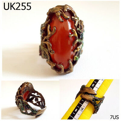 Filigree Ivy Wrapped Rare Old Roman Carnelian Bronze Ring Ring Size 7 US #UK255a