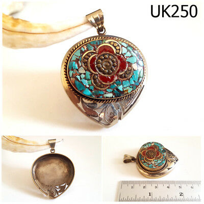 Rare Nepal Tibet Floral Turquoise & Red Coral TearDrop Silver Pendant #UK250a