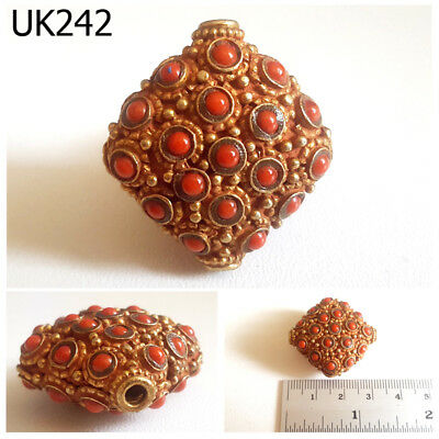 Beautiful Stratified Red Coral Handmade Gold Plated Flat Square Bead #UK242a