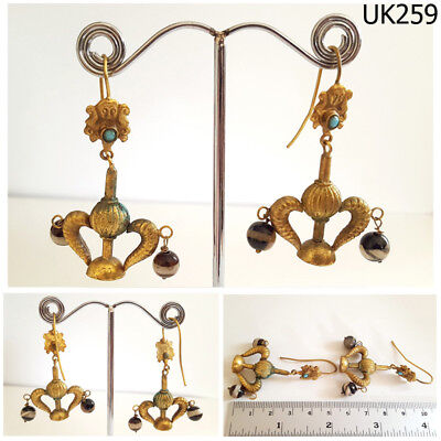 Very Old Turkoman Badge Blue Turquoise AGATE Gold Plated Dangle Earrings #UK259a