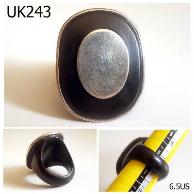 Rare Gothic Old Medieval Silver Coin & Black Wood Ring Size 6.5 US #UK243a