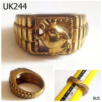 Powerful Roman Style Tiger Head Golden Bronze Ring Size 8 US #UK244a