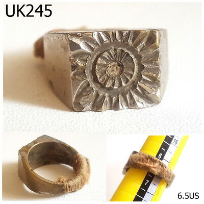 Rare Stunning Egyptian Carved Sun EYE Silver Mix Ring Size 6.5 US #UK245a