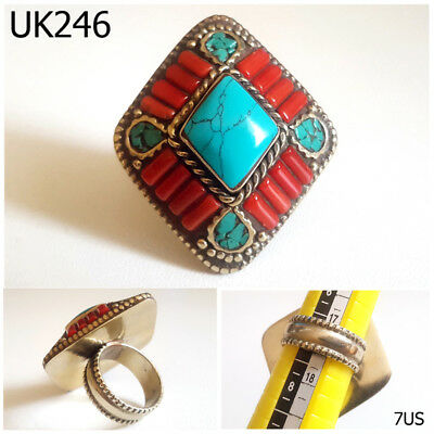 Old Tibetan Mosaic Turquoise & Red Coral Silver Ring Size 7 US #UK246a