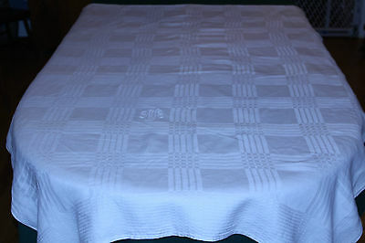"Vintage Jacquard Woven Homespun Linen 70"" Tablecloth, Wonderful Vintage Fabric"