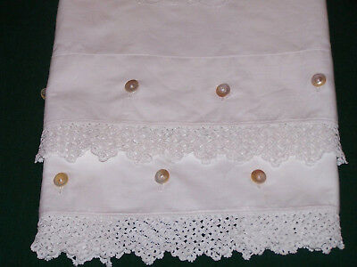 "Antique Victorian Pillowcases, Button Closure, Lace Trim, ""el"" Script Mono, 1880"
