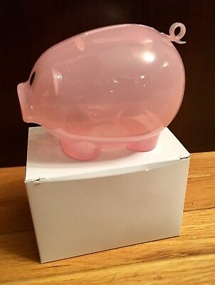 Pink Plastic Piggy Bank - Save Coins And Cash Fun For Kids Translucent New
