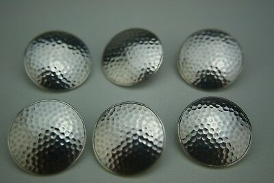 Antique Large Sterling Silver Set Of 6 Golf Ball Buttons - Birmingham - 1904