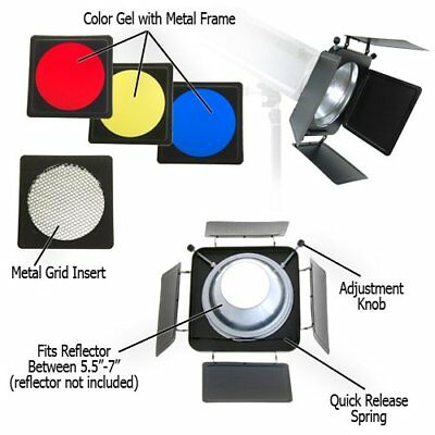 Universal Barndoor Kit with 45 Degree Honeycomb Grid for Profoto Compact Lights