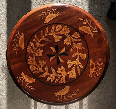 Antique Arts and Crafts Inlaid Mahogany and Oak Table - Unique and lovely!