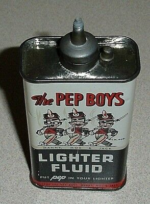Old 1934 Date & NOS - PEP BOYS Lead Top Lighter Fluid Can - Handy Oiler Type Tin