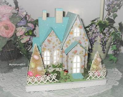 Easter Putz House - LED Light Up Blue Spring Cottage - Table Decor Pier 1 NEW
