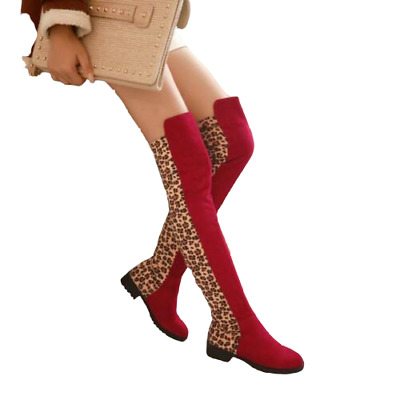 US4.5-11 new womens sexy leopard print soft Casual over the knee boots low heel