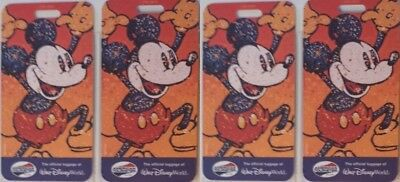 Four Walt Disney World American Tourister  Mickey Mouse Luggage Tags  w/ Straps