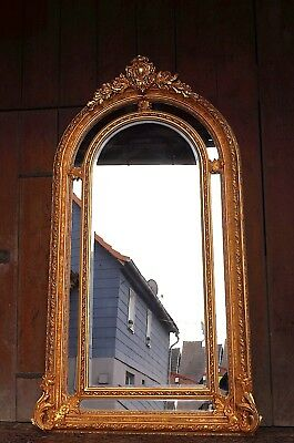 Large wooden framed mirror gold leaf louis xv rococo style from a french castle
