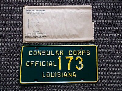 Louisiana  Consular Corps Official License Plate  MINT !!