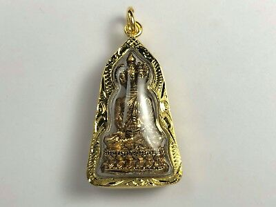 Authentic Bronze Thai Buddha Amulet in Gold Plated Protective Case.