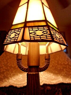 Pair Of Beautiful Vintage Small Tiffany Style Stained Glass Lamp Shades!~Mtlwork