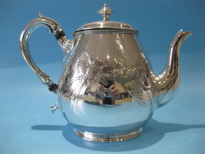 Beautiful Large Antique Silver Plate Victorian Bulbous Repousse Engraved Teapot