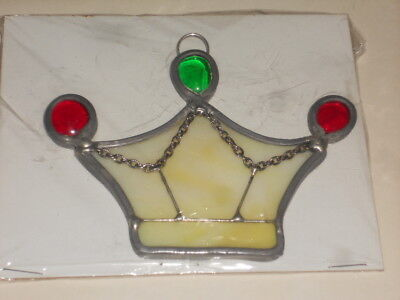 Red & Green & White Stained Glass 3 1/4 Inch Crown Ornament/Sun Catcher NICE