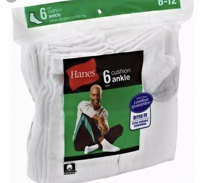 Hanes Cushioned Ankle Socks Mens Shoe Size 6-12 Large 6-Pack Black & White New!