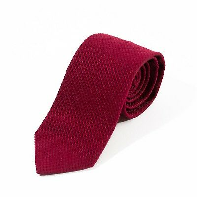 Brooks Brothers NWT Deep Red Basketweave English Cotton Blend Tie 8437