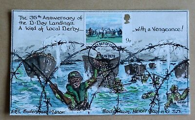 Horse Racing 1979 Rare Hand Painted '35Th Anniversary Of D Day Landings' Fdc