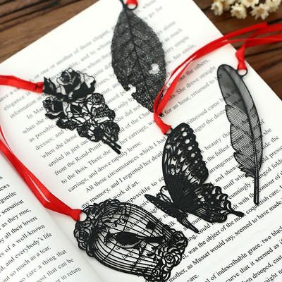 Butterfly Bookmark Book Reader Accessory Page Separator Feather Black Metal Gift