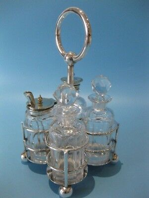 Very Nice Antique Georgian Silver Plated & Hand-Cut Crystal 4 Bottle Cruet Set